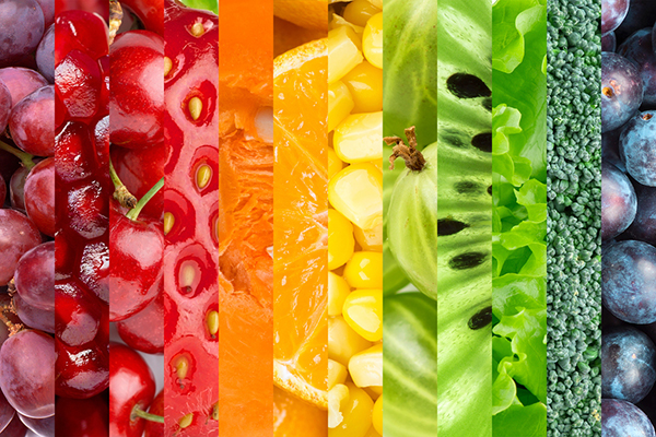 Fruit and Vegetables in Rainbow Colors