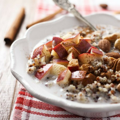 apple cinnamon quinoa breakfast bowl
