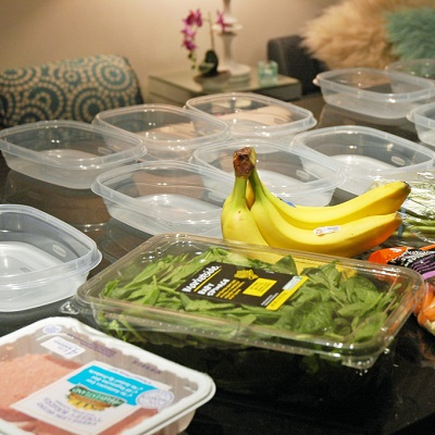 tupperware on table for meal prep