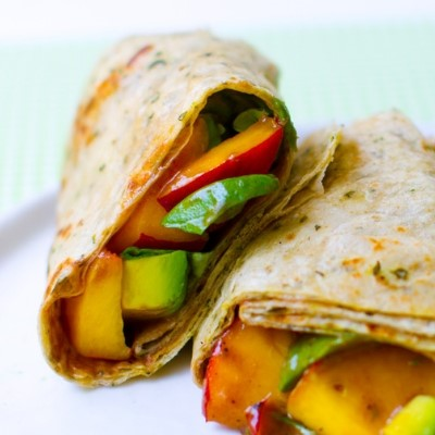 peach basil avocado balsamic wrap
